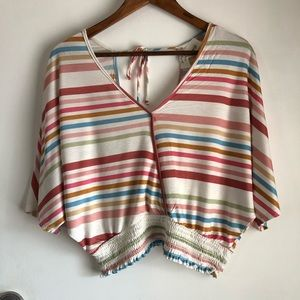 Vintage Havana Striped Faux Wrap Top Size L